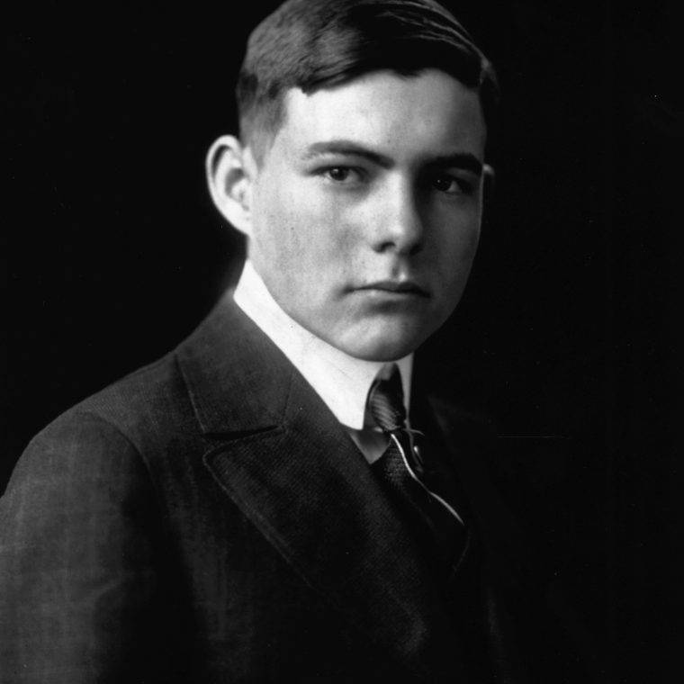 EH 7743P  15 February 1916  Portrait of Ernest Hemingway as a young man.  Photograph in the Ernest Hemingway Photograph Collection, John F. Kennedy Presidential Library and Museum, Boston.
