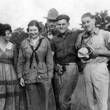 EH 5529P  circa 1920  L-R: Carl Edgar, Katy Smith, Marcelline Hemingway, Bill Horne, Ernest Hemingway, Charles Hopkins. Michigan, Walloon Lake/Petoskey area, circa summer 1920. Photograph in the Ernest Hemingway Photograph Collection, John F. Kennedy Presidential Library and Museum, Boston.