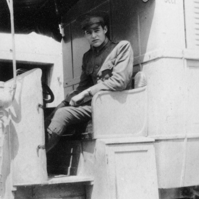 EH 10042P  Ernest Hemingway in an American Red Cross Ambulance in Italy, 1918 Photograph in the Ernest Hemingway Photograph Collection, John F. Kennedy Presidential Library and Museum.